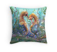 """The """"Flirt"""", sea horse art Throw Pillow"""