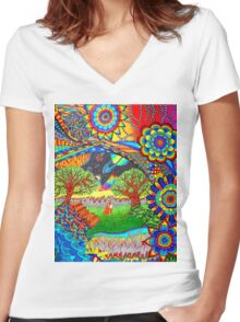 'Intergalactic Fox' Women's Fitted V-Neck T-Shirt