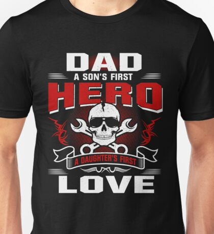 Dad Son's First Hero Daughter's First Love Graphic Tee Unisex T-Shirt
