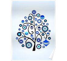 Blue Ornaments Poster