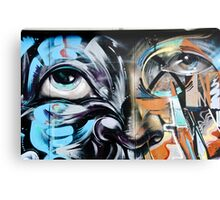 Abstract Graffiti Face on the textured brick wall Metal Print