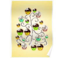Cupcake Glass Tree Poster