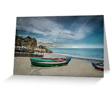 Peaceful Mediterranean beach of Nerja, Andalusia Greeting Card