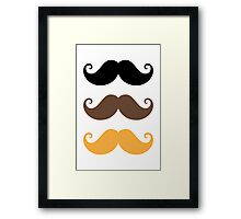 Mustache collection: black, brown and blond Framed Print