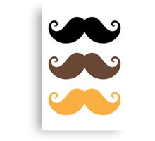 Mustache collection: black, brown and blond Canvas Print