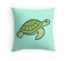 Little Green Turtle Throw Pillow