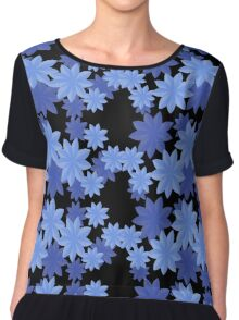 Floral Pattern Japanese Origami Style Blue Chiffon Top