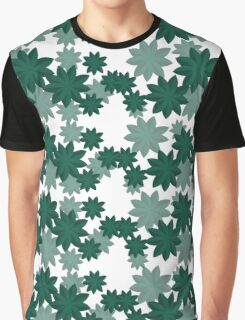 Floral pattern Japanese Origami Style Green Graphic T-Shirt