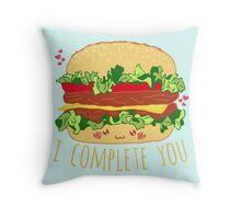 i complete you - hamburger doodle Throw Pillow
