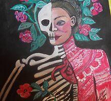 DeatSkeletal Women with Roses #2 by olivarmillan