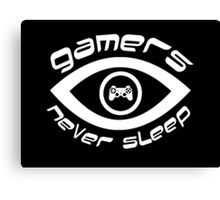 gamers never sleep white edition Canvas Print