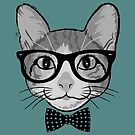 Cat Hipster with Polka Dots Bow Tie by Silvia Neto