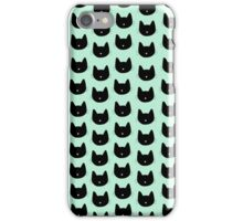 Cute Cat Pattern - Seafoam Green iPhone Case/Skin