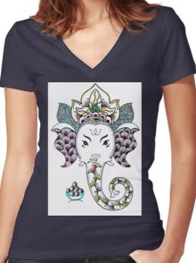 Ganesh the Elephant Women's Fitted V-Neck T-Shirt