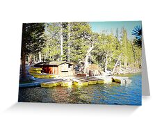 Row boats in port. Greeting Card