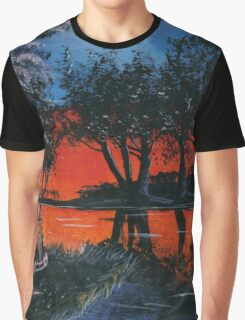 Red Sky Camper Van Painting Graphic T-Shirt