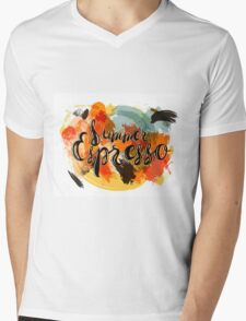 Summer Espresso Lettering Mens V-Neck T-Shirt