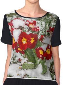 Red Winter flowers in the snow Chiffon Top