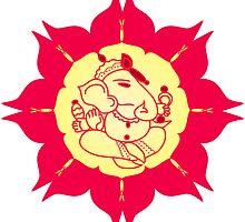 God Ganesha on red flower by cycreation