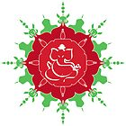 God Ganesha on red and green flower by cycreation