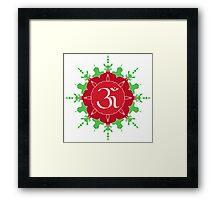 OM symbol on red and green flower Framed Print