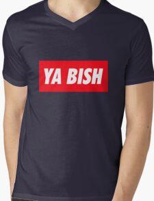 Ya Bish Typography Mens V-Neck T-Shirt