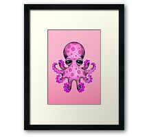 Cute Pink Baby Octopus Framed Print