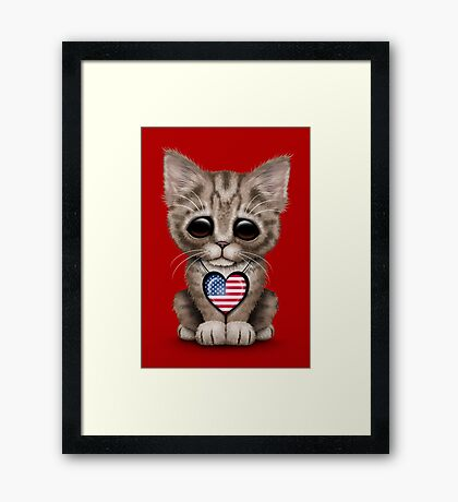 Cute Kitten Cat with American Flag Heart Framed Print