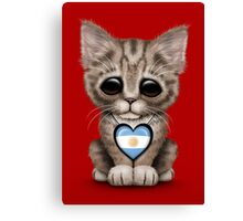 Cute Kitten Cat with Argentinian Flag Heart Canvas Print