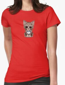Cute Kitten Cat with Argentinian Flag Heart Womens Fitted T-Shirt