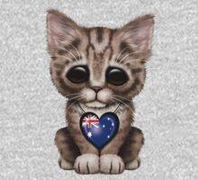 Cute Kitten Cat with Australian Flag Heart Kids Clothes