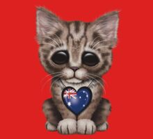 Cute Kitten Cat with Australian Flag Heart Kids Clothes