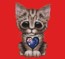 Cute Kitten Cat with Australian Flag Heart Kids Tee