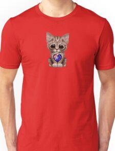 Cute Kitten Cat with Australian Flag Heart Unisex T-Shirt