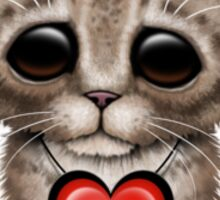 Cute Kitten Cat with Austrian Flag Heart Sticker