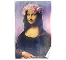 Mona Lisa Flower Crown Poster
