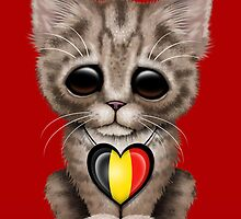 Cute Kitten Cat with Belgian Flag Heart by Jeff Bartels