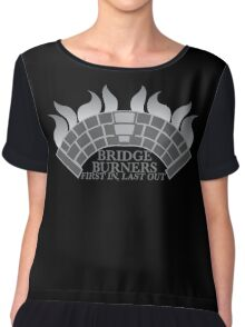 Bridge Burners First in, Last out in grey Chiffon Top