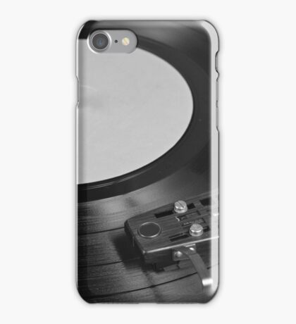 Vinyl Record Playing on a Turntable Overview iPhone Case/Skin