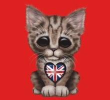 Cute Kitten Cat with British Flag Heart Kids Clothes