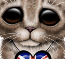 Cute Kitten Cat with British Flag Heart Sticker