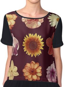 Floral Pattern Red Chiffon Top