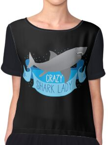 Crazy Shark Lady Banner Chiffon Top