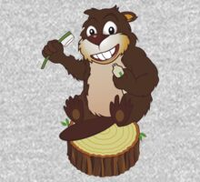 Beaver cartoon character with a toothbrush Kids Clothes