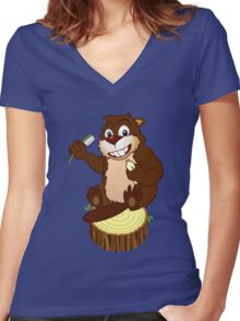 Beaver cartoon character with a toothbrush Women's Fitted V-Neck T-Shirt