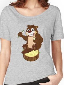 Beaver cartoon character with a toothbrush Women's Relaxed Fit T-Shirt