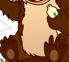 Beaver cartoon character with a toothbrush Sticker