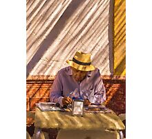 Todays crossword on the Spanish sidewalk Photographic Print
