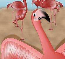 Photo Bomb Flamingo by Carol Vega