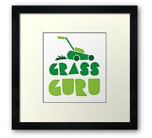 GRASS GURU (with lawn mower) Framed Print